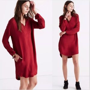 Madewell Du Jour Red Tunic 3/4 Sleeve Dress Flowy